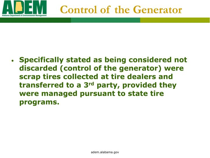 Control of the Generator