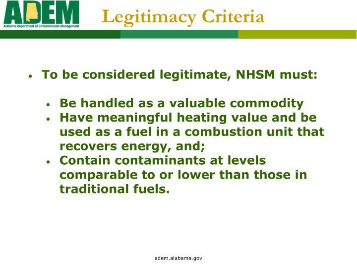 Legitimacy Criteria