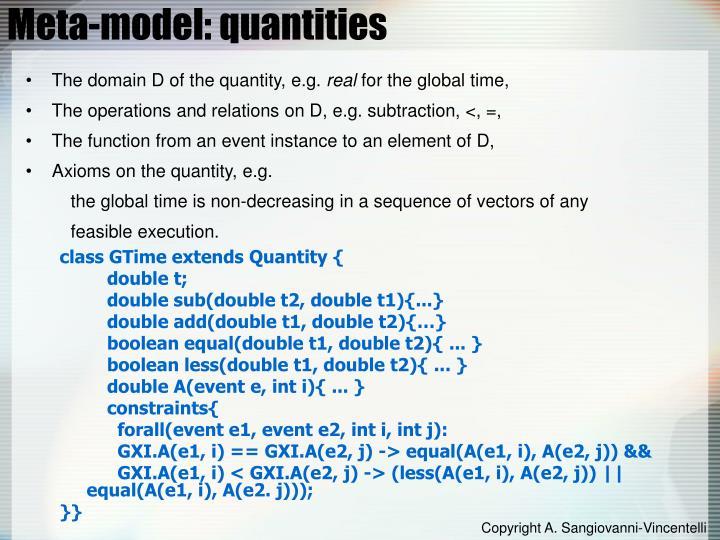 Meta-model: quantities