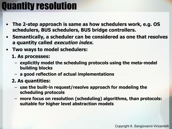 Quantity resolution