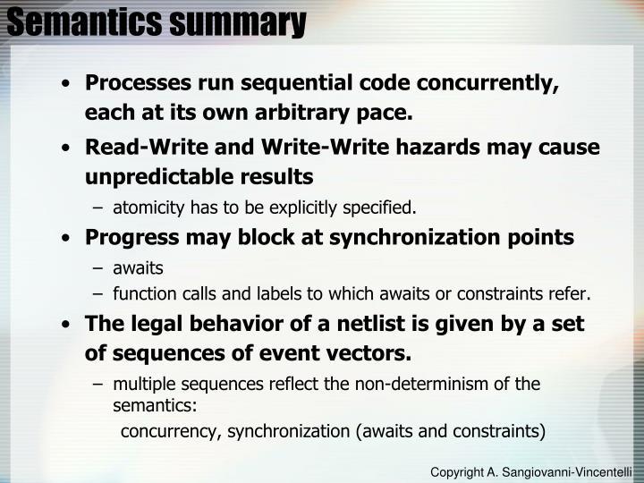 Semantics summary