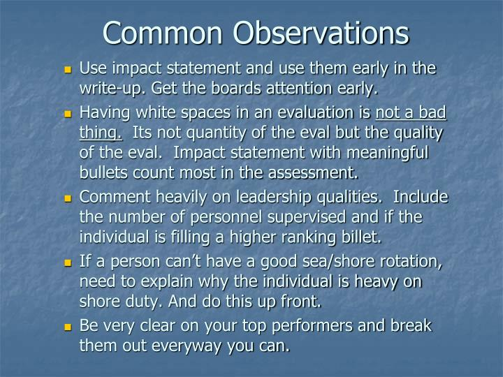Common Observations