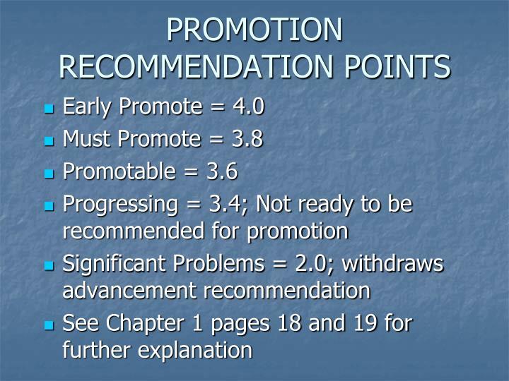 PROMOTION RECOMMENDATION POINTS