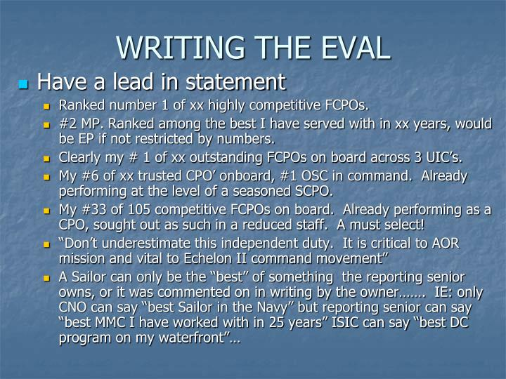 WRITING THE EVAL
