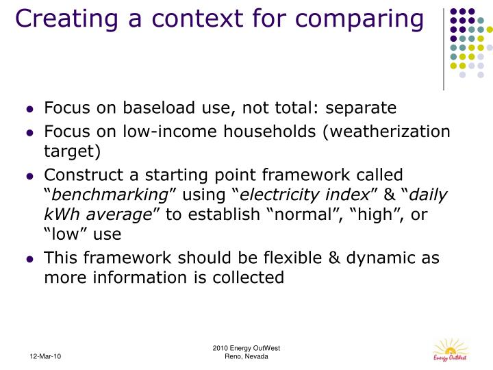 Creating a context for comparing