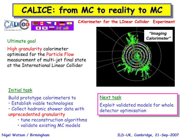 CALICE: from MC to reality to MC