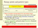 energy points and particle types