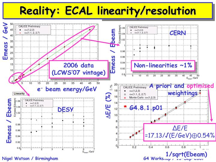 Reality: ECAL linearity/resolution