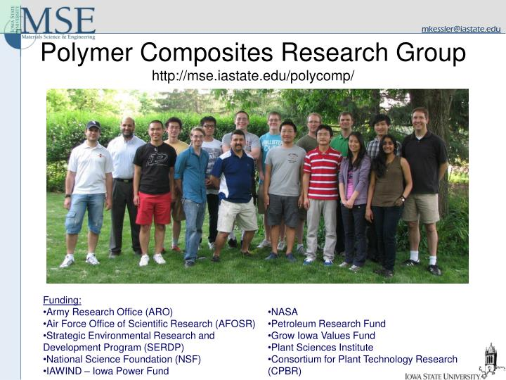 Polymer composites research group http mse iastate edu polycomp