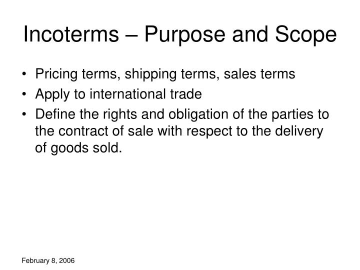 Incoterms purpose and scope