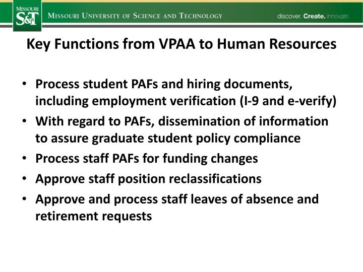 Key Functions from VPAA to Human Resources