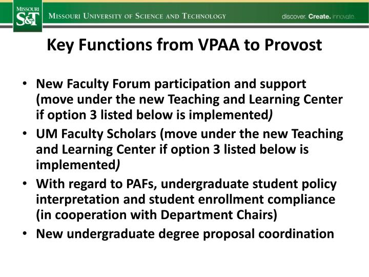 Key Functions from VPAA to Provost