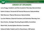 order of speakers