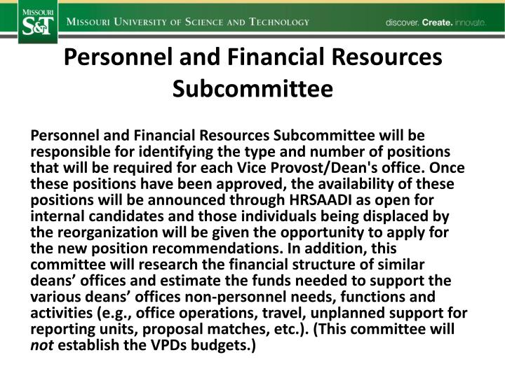 Personnel and Financial Resources
