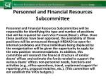 personnel and financial resources subcommittee