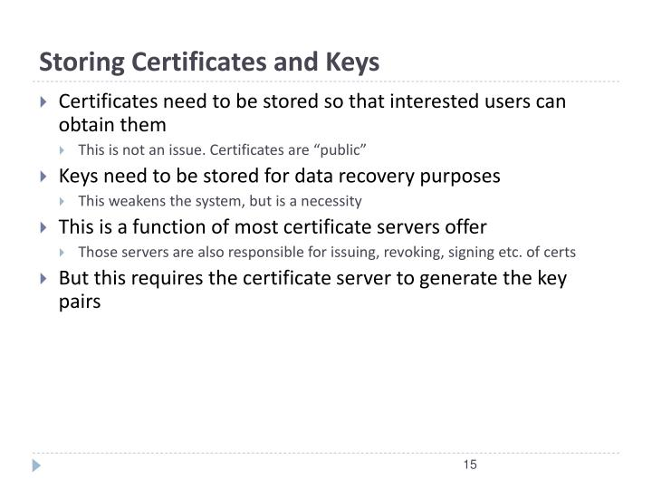 Storing Certificates and Keys