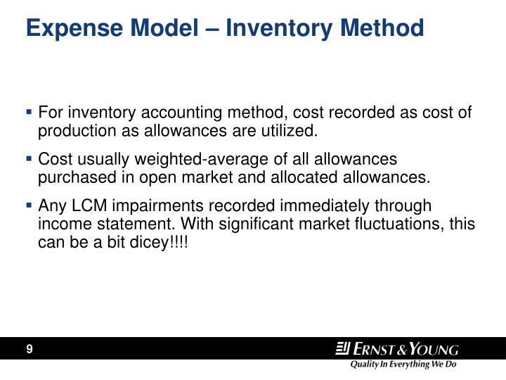 Expense Model – Inventory Method