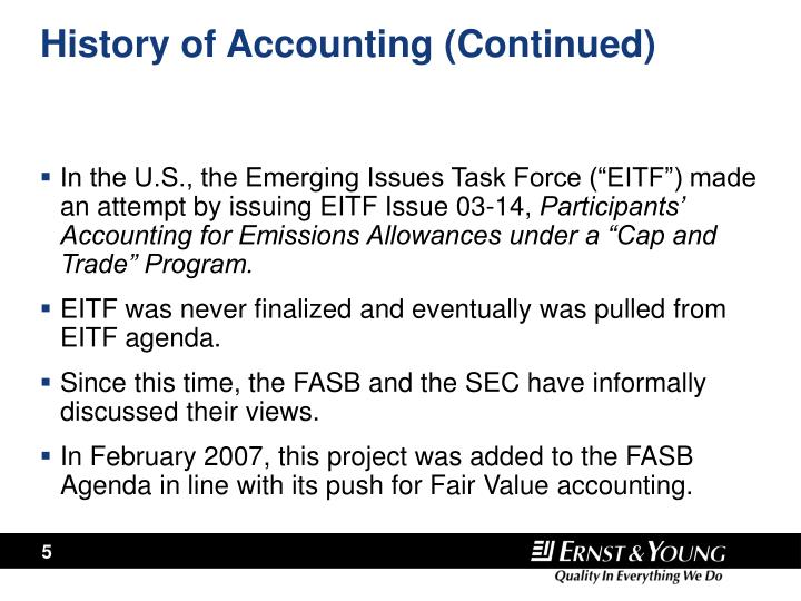 History of Accounting (Continued)