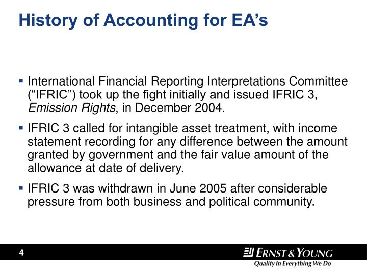 History of Accounting for EA's