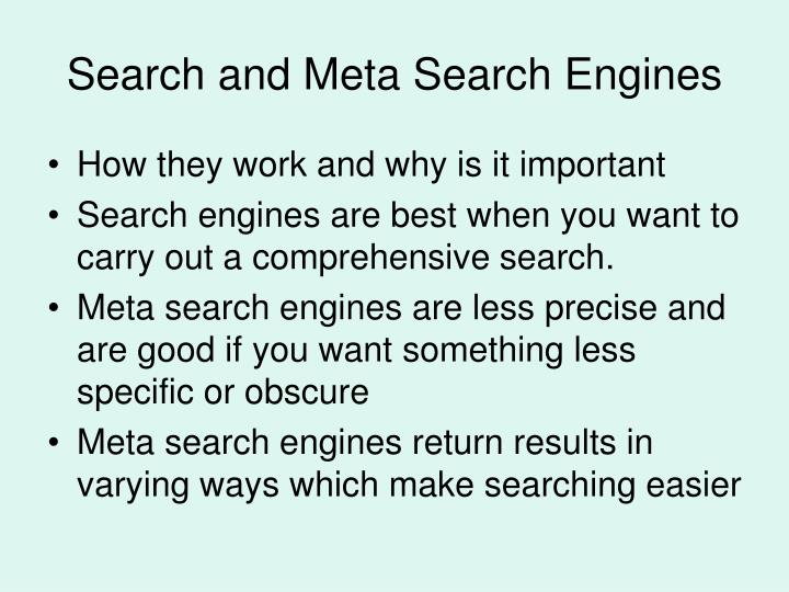 Search and Meta Search Engines