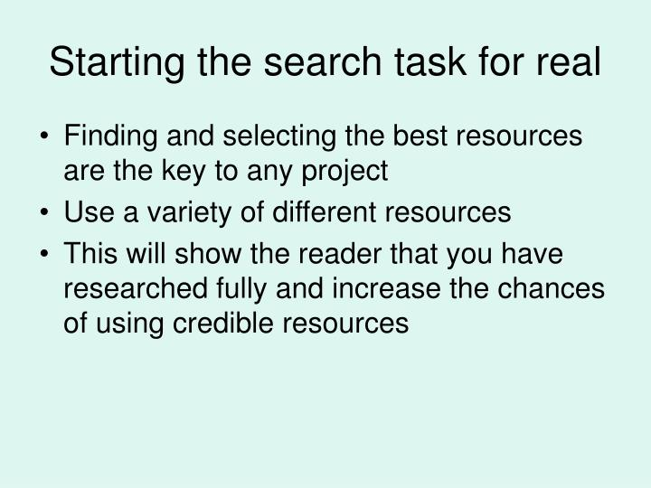 Starting the search task for real