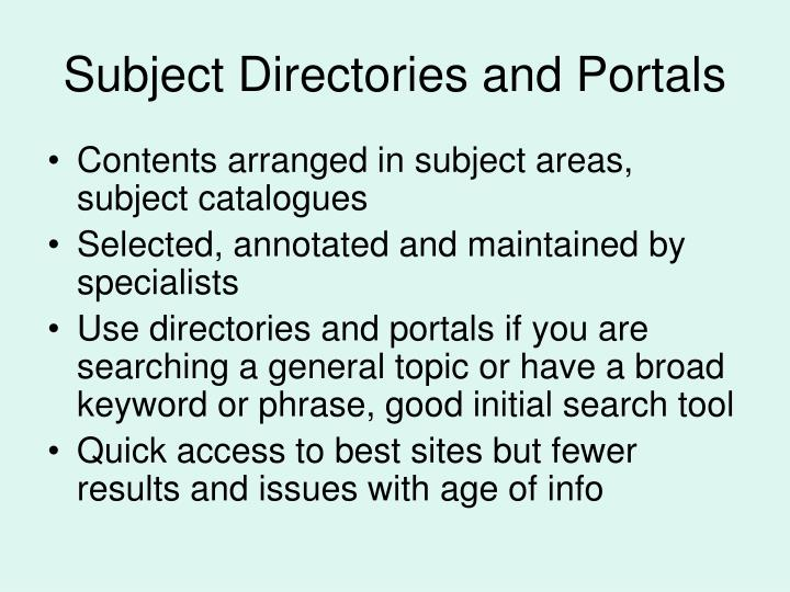 Subject Directories and Portals