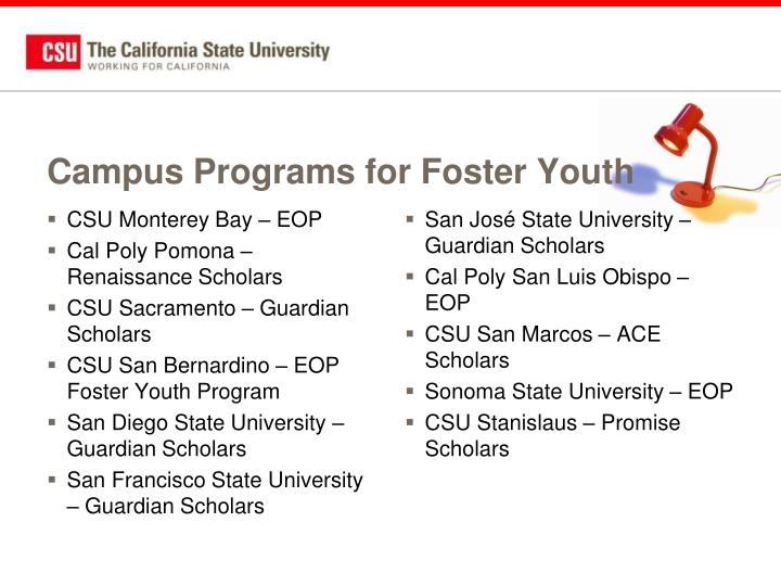 Campus Programs for Foster Youth