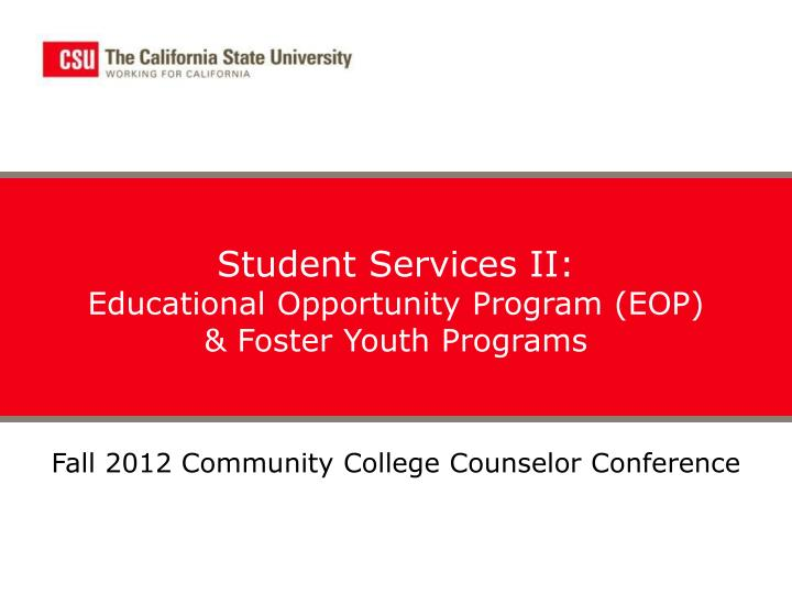 Student Services II: