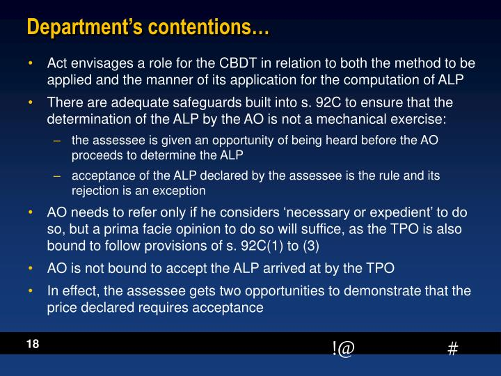 Department's contentions…