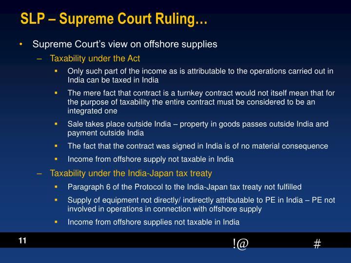SLP – Supreme Court Ruling…