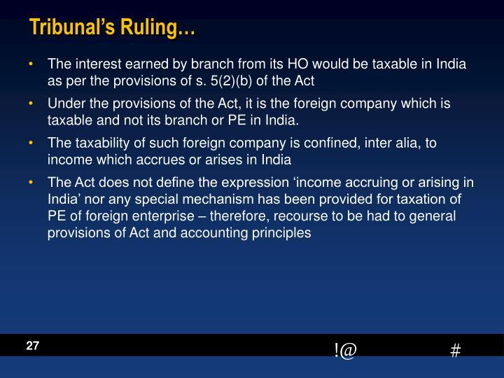 Tribunal's Ruling…