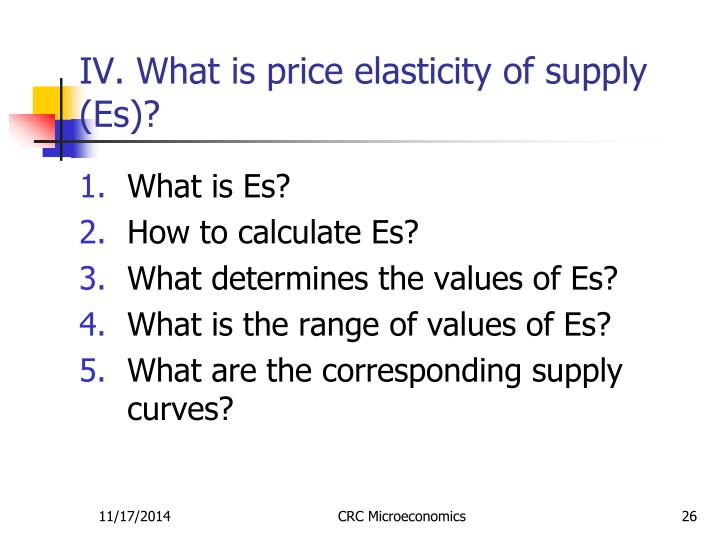 IV. What is price elasticity of supply (Es)?