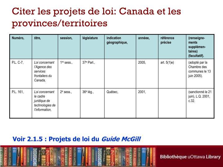 Citer les projets de loi: Canada et les provinces/territoires