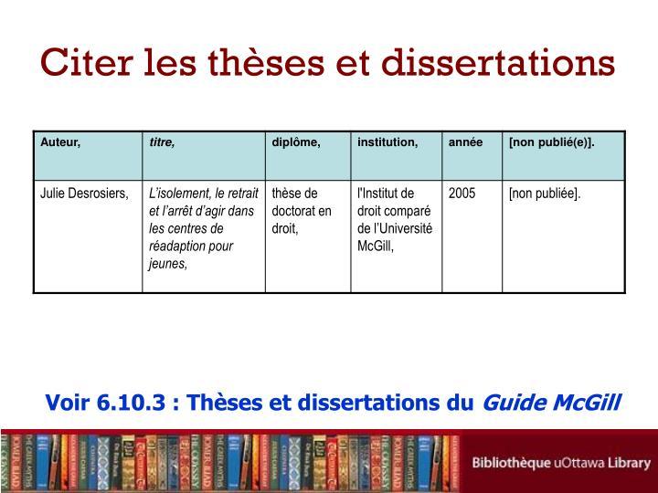 Citer les thèses et dissertations
