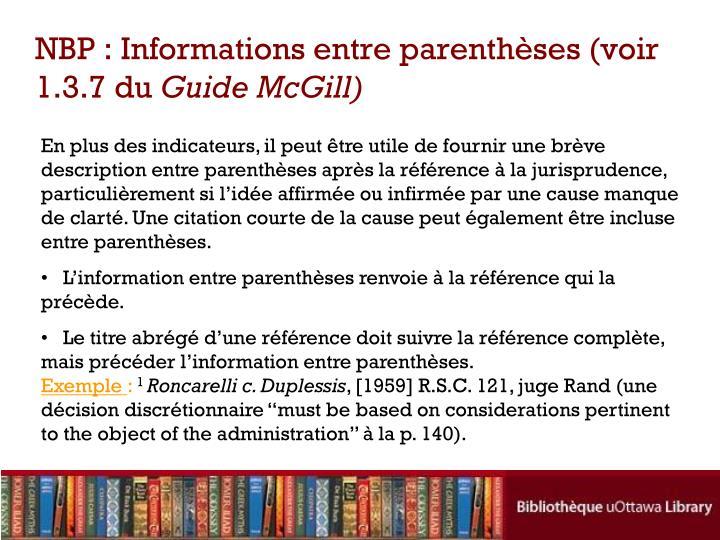 NBP : Informations entre parenthèses (voir 1.3.7 du
