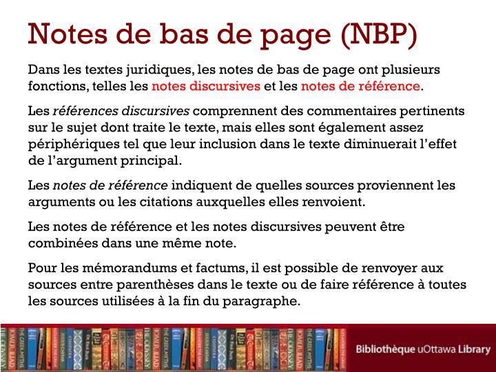 Notes de bas de page (NBP)