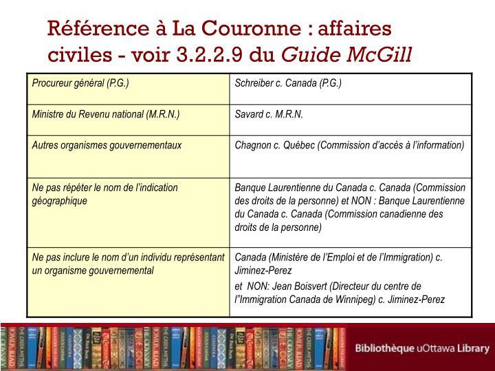 Référence à La Couronne: affaires civiles - voir 3.2.2.9 du