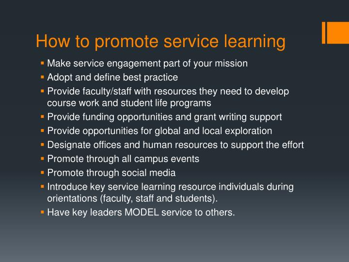 How to promote service learning