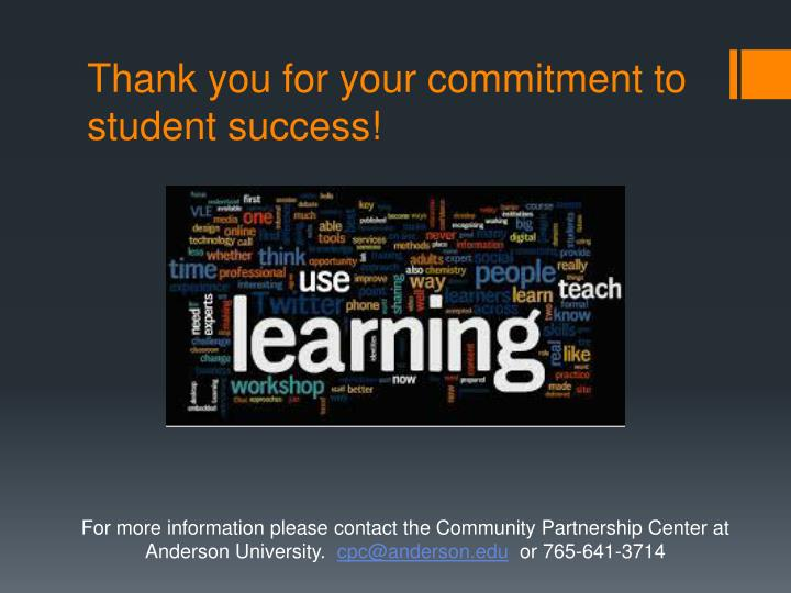 Thank you for your commitment to student success!