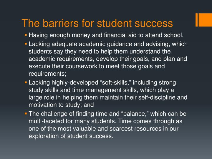 The barriers for student success