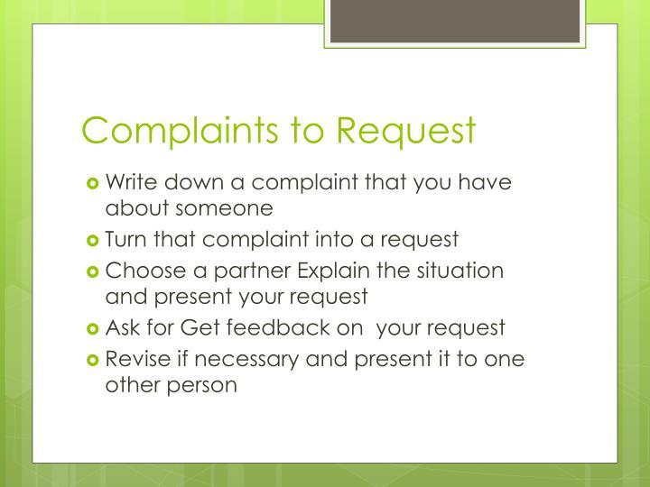 Complaints to Request