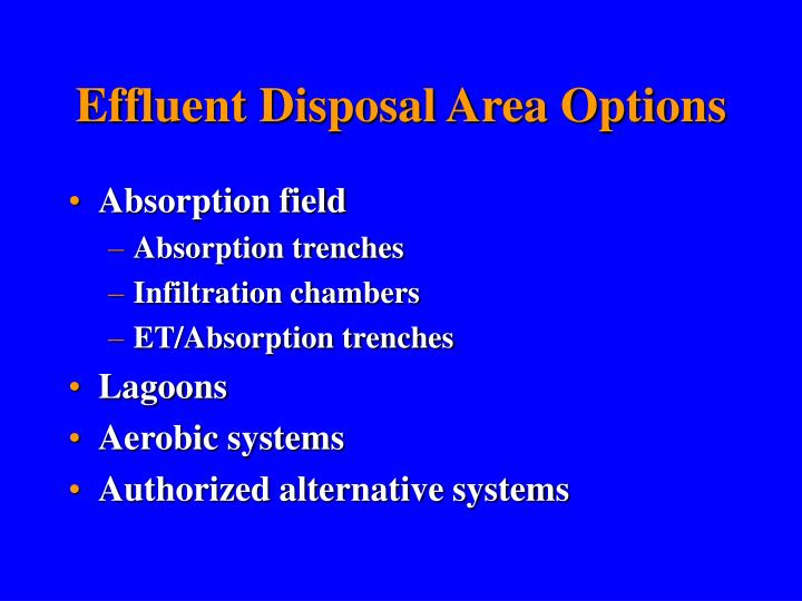 Effluent Disposal Area Options