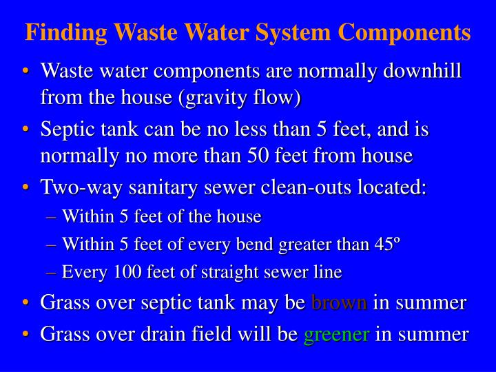 Finding Waste Water System Components