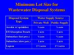 minimum lot size for wastewater disposal systems
