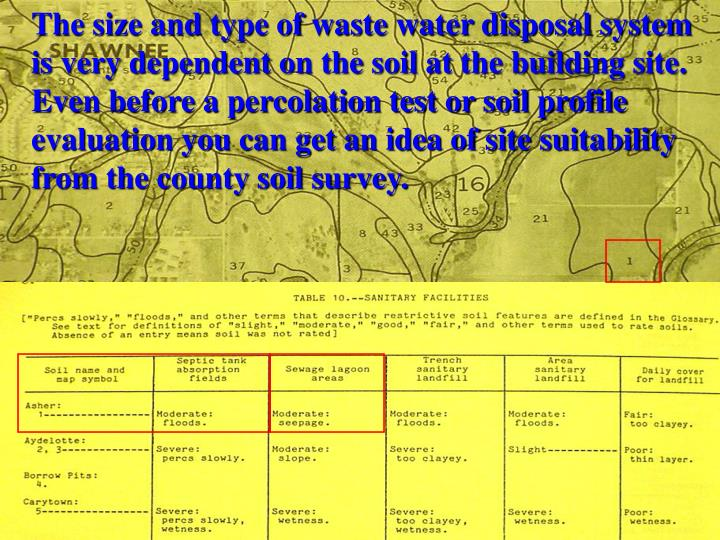 The size and type of waste water disposal system is very dependent on the soil at the building site.  Even before a percolation test or soil profile evaluation you can get an idea of site suitability from the county soil survey.