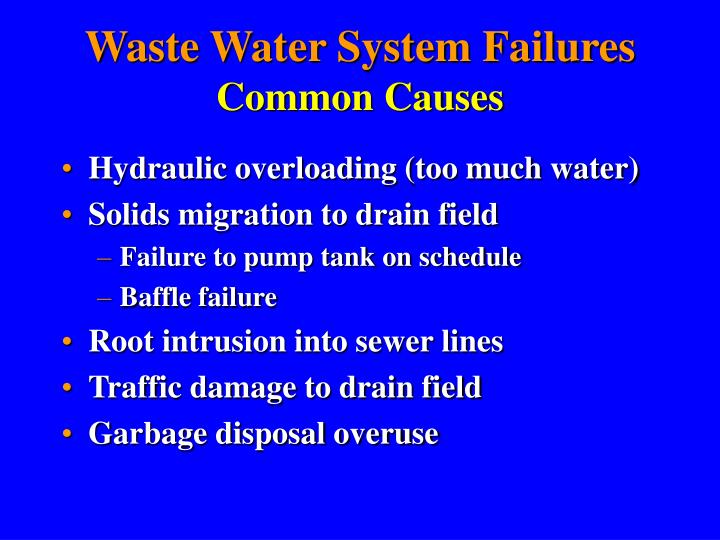 Waste Water System Failures