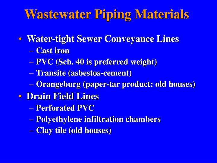 Wastewater Piping Materials