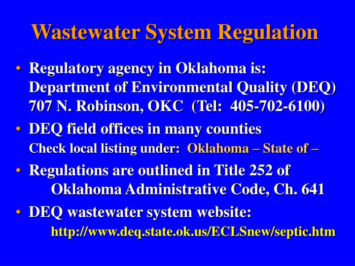 Wastewater System Regulation