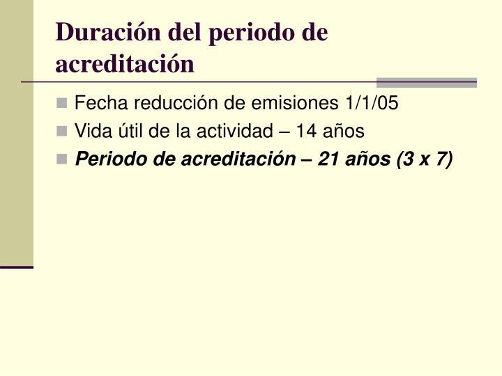 Duración del periodo de acreditación