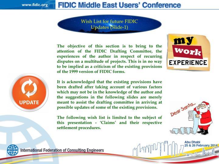 Wish List for future FIDIC Updates (Slide-1)